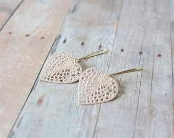 V A N I L L A - Blush Beige Ivory Lace Heart Leaf, Hand Painted Filigree, Brass Dangle Earrings