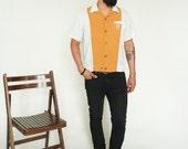 50s 60s Mustard Short Sleeve Montgomery Ward Shirt // sz M