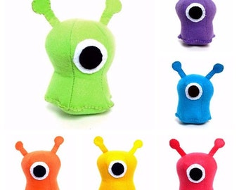 Small one-eyed alien plush stuffed animal- Available in Green, yellow, teal, purple, orange and hot pink