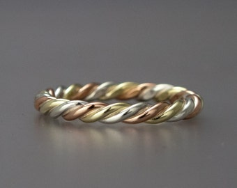 Tri Color Gold Three Strand Twist Ring - Mix of Yellow Gold, Rose Gold and either White Gold or Sterling Silver