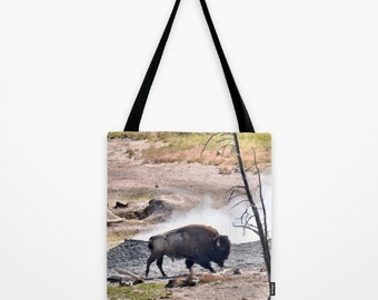 Bison and Geyser Tote Bag - photo tote bag