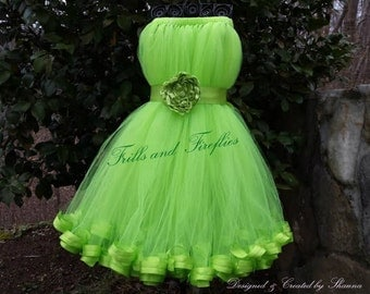 Green Flower Girl Dress with Ribbon Hem & Green Satin Flower Sash..Spring Collection..Other Available Colors Sizes 1t, up to Size 10