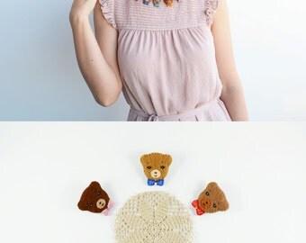 Mini Felt Bear Brooch / Lovely Teddy Bear Felt Brooch / Tiny Felt Bear Pin / Enchanting Felt Animal Brooch / Endearing Forest Friends Brooch