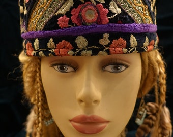 Purple Hat Gypsy World Peace Hat Purple Black Green Rose Vintage Embroideries Mirror Work Hatsbybuck