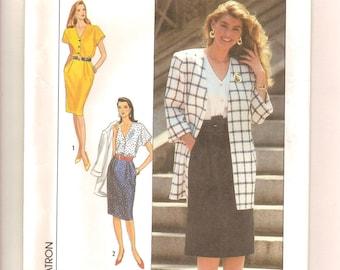 Easy Vintage 80s Dress & Unlined Jacket Sewing Pattern Simplicity 9511 -Multi Size H5 (6, 8, 10, 12, 14) V Neck Cap Sleeve Damon Dress UNCUT