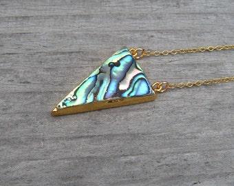 Abalone Shell Necklace In 14 K Gold Fill, Abalone Pendant, Geometric Jewelry, Triangle Shape, Beach Jewelry, Paua Shell