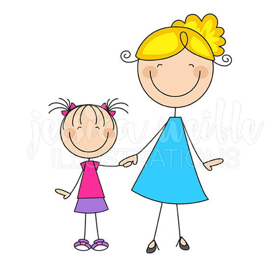 Cute Stick Figures Mom and Daughter Stick...