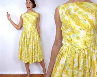 Vintage 50s Yellow Floral Day Dress | Sleeveless Summer Dress, Small