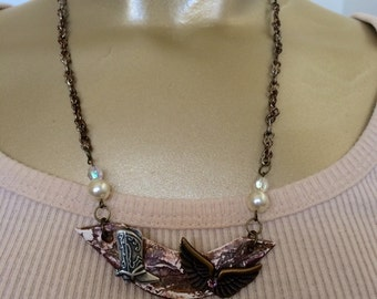 Little Bit Country Bling Wings and Boots Necklace assemblage, Angel wings Necklace, Country collage Necklace, Mixed media upcycled Necklace