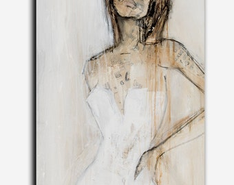 Neutral color abstract figure Painting 24x36 canvas