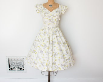 Vintage 50s Dress - 1950s Novelty Print Dress - The Dot