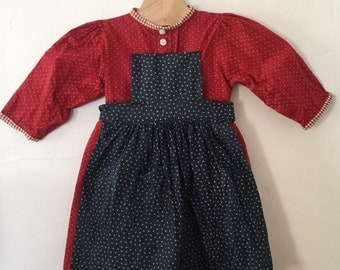 Vintage 80s / Red and Blue / Baby Girl / Long Sleeve / Prairie / Stars / Dress / Size 9-12 Months