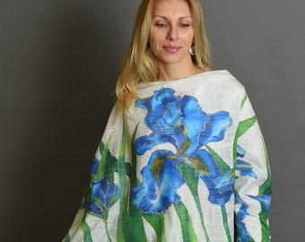 Nuno felted blue shawl, Large long floral scarf shawl,  Wrap OOAK, Felted wool scarf, Colorful shawl