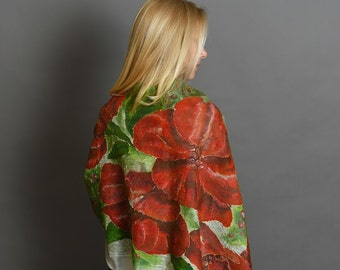 Red Flowers Scarf    White Red Green Scarf   Felted Shawl   Hand Painted Shawl   Designer Scarf   Designer Clothing