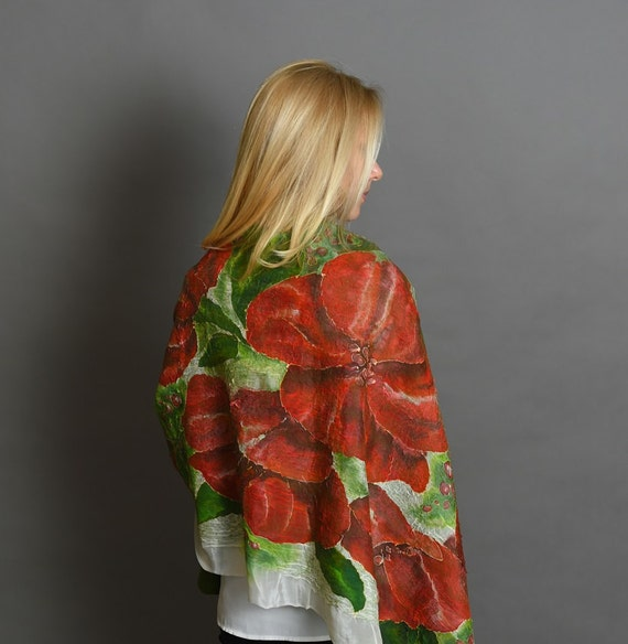 Red Flowers Scarf |  White Red Green Scarf | Felted Shawl | Hand Painted Shawl | Designer Scarf | Designer Clothing
