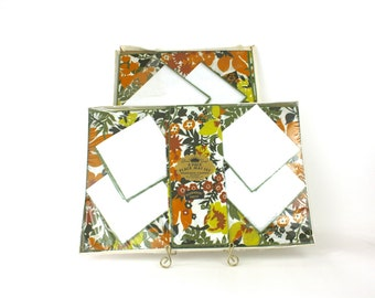 Vintage 70s Placemats Napkins 8 Piece Set Green Yellow Gold Floral Design Boxed by Gloria Gray Unopened Never Used