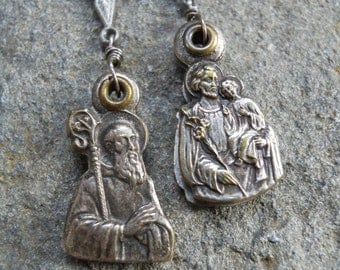 Brethren       Antique French St.Benedict St.Anthony Religious Medal Assemblage Earrings