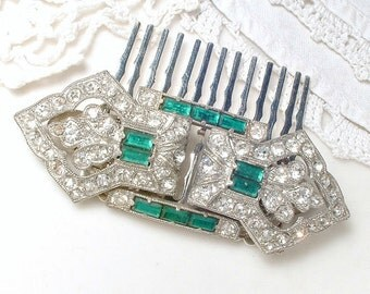 1920s Emerald Green Bridal Hair Comb, Duette Dress Clips OR Sash Brooch Antique Art Deco Pave Rhinestone Pin / Gatsby Flapper Jewelry 20s