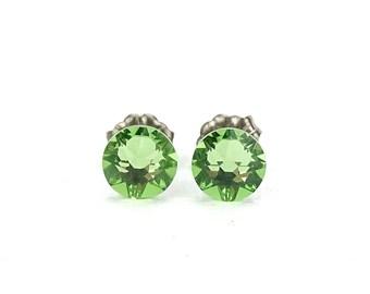 Titanium Stud Earrings Green Peridot Swarovski Crystal Studs, Titanium Posts for Sensitive Ears, Nickel Free Hypoallergenic Jewellery