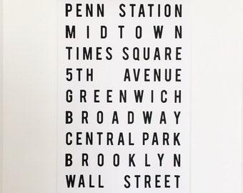 New York City street wall art with Wood Poster Rails NYC subway sign art NYC subway scroll
