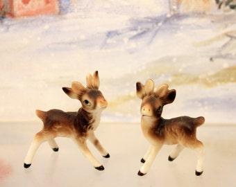 Bone China Baby Deer Bucks Miniature Figurine Pair Woodland Animal Christmas Scene      T