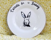Carrots for the Easter Bunny Plate Handmade Vintage Rabbit