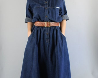 Vintage 80s Women's Durable Dark Blue Denim Shirtdress Casual Dress Work Dress