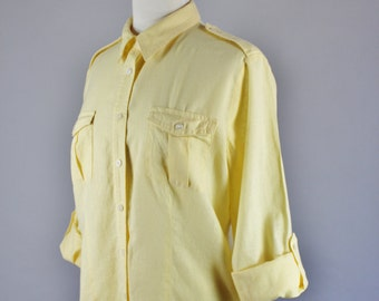 FREE SHIPPING Vintage 90s Women's Bright Yellow Summer Linen Long Sleeve Button Down Fitted Wear to Work Comfortable Shirt, Size Medium