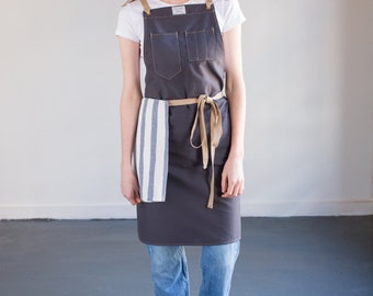 Culinary Apron in Slate Brushed Twill