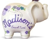 Personalized Elephant Piggy Bank Lavender/Purple Flowers & Butterfly - Newborns, Birthday Girls, Flower Girl, Baby Shower Gift Centerpieces