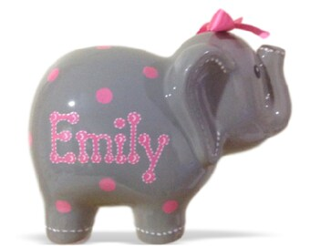 Personalized Large Elephant Piggy Bank Pink/Purple Polka Dots - Newborns, Birthday Girls, Flower Girl, Baby Shower Gift Centerpieces