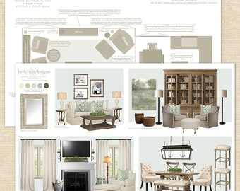Custom Virtual Home Interior Design Plans / E-Design Services per Room / Home Decorating Inspiration & Planning