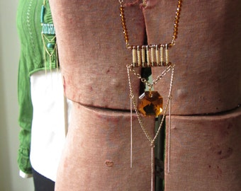 Safety Pin Necklace, Repurposed Vintage Chandelier Crystal Pendant, Boho Chain Necklace, Safety Pin Jewelry, Upcycled Jewelry, Large Jewel