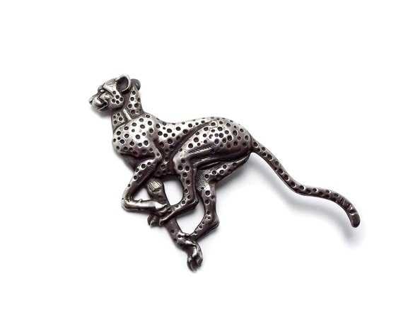 Vintage Leopard Jaguar Brooch, Panther, Wildcat, Cougar, Silver tone, Pewter, Jumping Cat