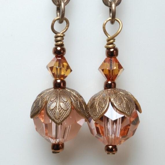 Peach Crystal Earrings Swarovski Crystals Light Peach Topaz Copper Vintaj Natural Brass Earrings Jewelry Under 20