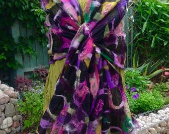 Black nuno felted silk chiffon shawl - purple green pink wrap scarf -  lagenlook artsy OOAK