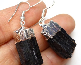 Black Tourmaline Earrings with Sterling Silver Ear Wires Electroformed Reflective Raw Crystal Rough Energy Brazil Elegant