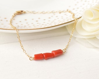 Coral Gemstone Bar Bracelet - Layering - Sterling Silver & 14k Gold Filled