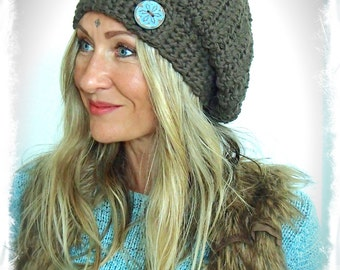 Earthy BROWN cotton SLOUCHY Beanie hat crochet slouch hat CHOCOLATE brown beret Groovy Girls hat Hippie hat Women slouchy Beanies GPyoga