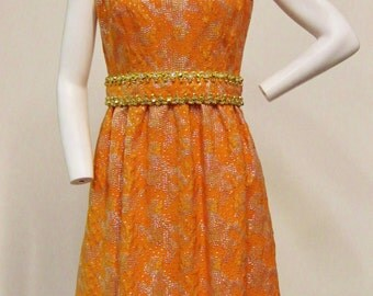 1960s Orange and Silver Metallic Brocade Dress with Gold and Diamante Trim