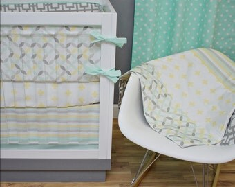 Crib Bedding Neutral Pastel Mint Yellow Gray Nursery Baby Set Geometric Plus