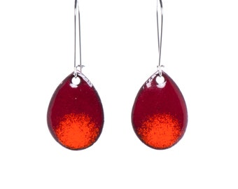 Marsala & Pumpkin Ombré Teardrop Earrings