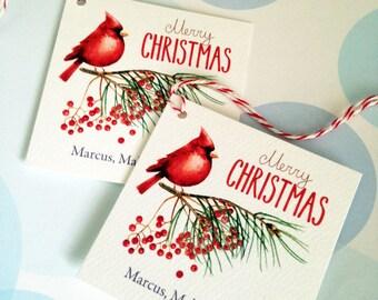 Christmas Tags, Personalized Christmas Tags, Custom Holiday Tags, Set of 24