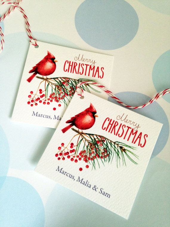 Cardinal bird personalized Christmas gift tags