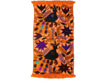 Mexican Otomi Runner in Vibrant Fall Hues - Orange and Purple Halloween Table Runner