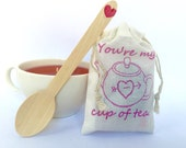 Unique valentine for her. You're my cup of tea. One small favor, great card alternative. Ready to ship.