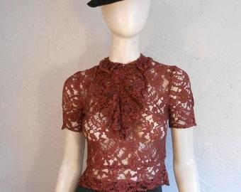 Delightful Deco Days - Vintage 1930s Brick Burgundy Lace Blouse w/Jabot - XS