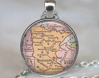 Minnesota map necklace, Minnesota map pendant Minnesota state map Minnesota necklace map jewelry map jewellery key chain key fob