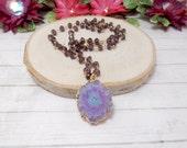 Purple Solar Quartz Necklace, Quartz Necklace, Solar Quartz Beaded Necklace