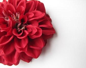 Red Flower Hair Clip, Large Dahlia Mum, Red Wedding Hair Flowers